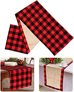 OurWarm Cotton Burlap Buffalo Plaid Table Runner, Christmas Reversible Red and Black Checkered Table Runners for Holiday C...