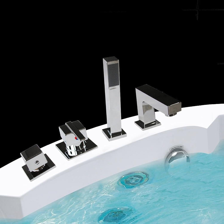 Melko Handbrausen Armatur Set für Badewannen, Chrom, inkl. Montagematerial - stilvolle, zeitlose und moderne Gestaltung (eckig, 4 Loch)