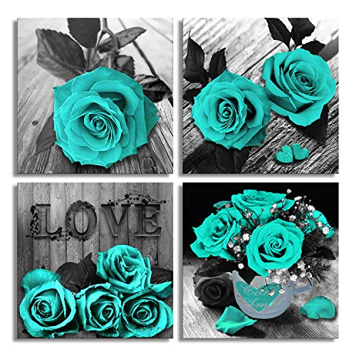 Teal Rose Flowers Canvas Prints Black and White Wall Art Turquoise Floral Pictures for Home Bedroom Bathroom Decoration