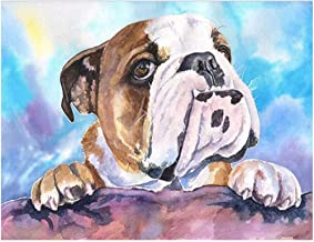 Bhhcr Paint by Numbers Digital Painting English Bulldog DIY Home Decoration(40X50Cm Frameless)