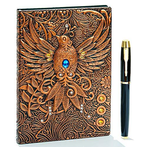 3D Vintage Leder Notizbuch,A5 Liniert, Geprägte Reisetagebuch Tagebuch Journal Buch Personal Organizer Notizheft Hardcover Business Schule Geschenk für Männer Frauen Kinder (Phönix(RedBronze)