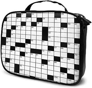 Nicokee Travel Makeup Bag Word Search Puzzle Classical Crossword Cosmetic Case Organizer Waterproof Makeup Brush Organizer Bag for Women