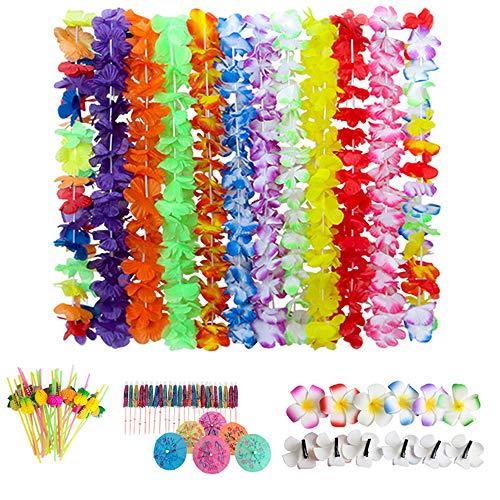 84 Pezzi Ghirlanda Hawaiana Collane Fiori Accessorio/Ombrelli Multicolori/Cnnucce di Plastica,Articoli per Feste alle Hawaii,Festa in Spiaggia Party Decorazione di Compleanno