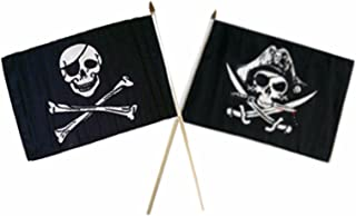 ALBATROS 12 inch x 18 inch Pirate Eye Patch with Deadmanins Chest Stick Flag for Home and Parades, Official Party, All Weather Indoors Outdoors