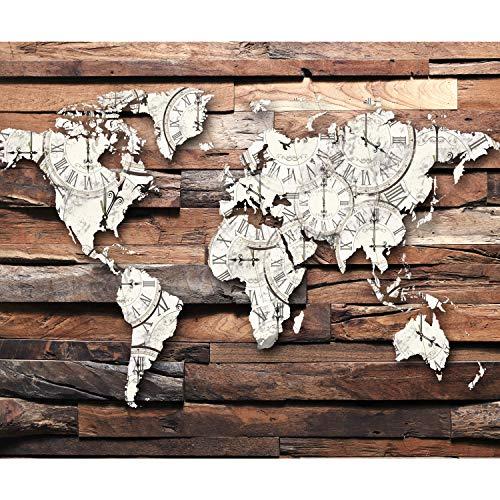 decomonkey Fototapete Weltkarte Holzoptik 400x280 cm XL Tapete Fototapeten Vlies Tapeten Vliestapete Wandtapete moderne Wandbild Wand Schlafzimmer Wohnzimmer Landkarte Holz Brett