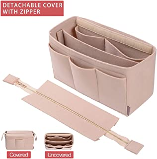 Purse Organizer Insert, Bag Organizer with NEW Detachable Zipper cover, fits Speedy Neverful, St Lious, Tote, 5 Size