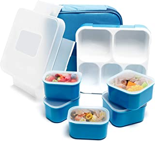 Fun Life Bento Lunch Box, 5 Compartment Insulated Leakproof Meal Prep Container Eco-Friendly Reusable for Men,Women,Adults,Kids (Blue)