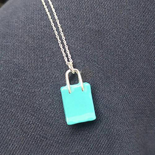 HGDS Sterling Silber 925 Klassische Mode Exklusive Blaue Handtasche Anhänger Damen Halskette-Cyan