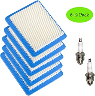 TOPEMAI 491588S Air Filter, Compatible for Briggs and Stratton 491588 4915885 399959, Toro 20332, Craftsman 3364, 5 Pack Air Filter with 2 Pack Spark Plug