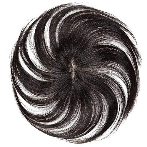 FEIYI WIGS部分ウィッグ ヘアピース つけ毛 100%人毛 ブラック エクステウィッグ ストレート レディース ...