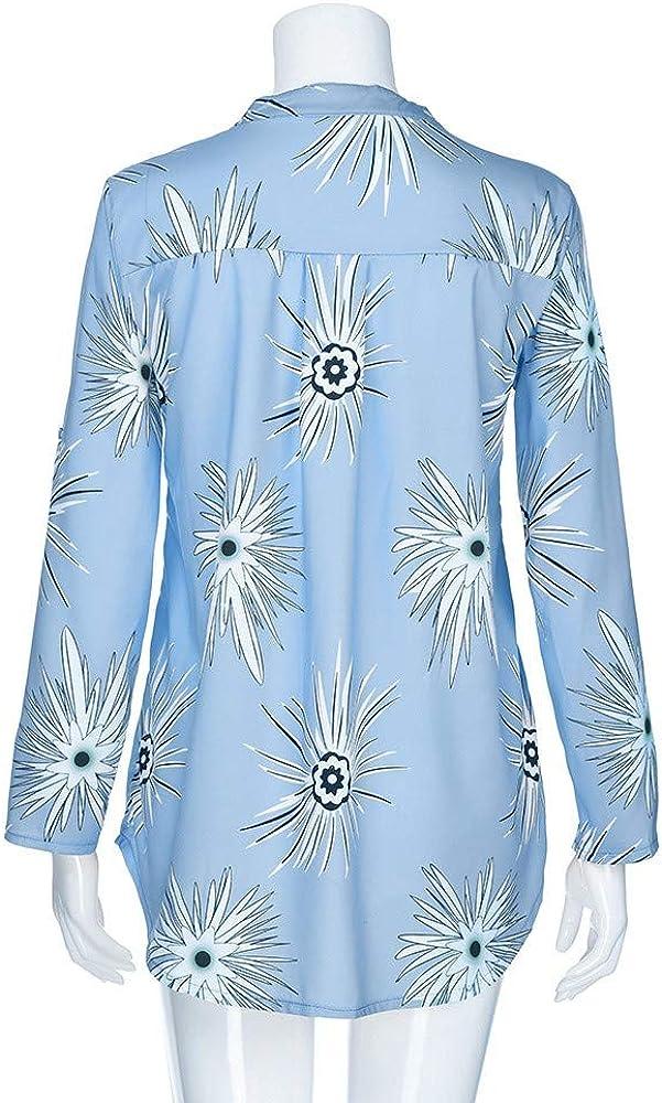 JURTEE Elegante Camicetta da Donna,Taglie Forti Maglietta Allentata A Maniche Lunghe con Bottone,Bluse con Stampa di Estiva