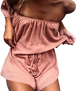 6297ede38d2 LUKYCILD Women Sexy Strap Backless Summer Beach Party Romper Jumpsuit