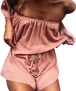 541b3519606 NANYUAYA Women Dot Print Off Shoulder Ruffle Short Sleeve Summer Romper  Jumpsuit