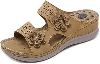 صندل انزلاقي للنساء مفتوح من الأمام من الجلد صندل مسطح بتصميم الزهور الأوتاد أحذية المشي كاجوال