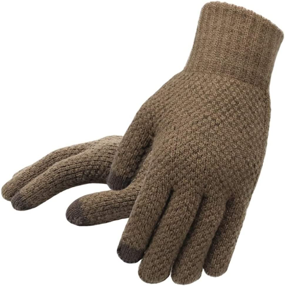 GHCXY Gloves,Winter Men Knitted Touch Screen Male Mitten Thicken Warm Wool Solid Men Business Autumn,Coffee