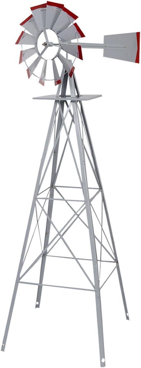 Lotus Analin 8Ft Tall Windmill Silver Wheel Save Selling rankings money Ornamental Gray Wind