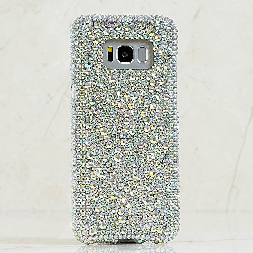Galaxy S8 Case, [Premium Handmade Quality] Bling Genuine Crystals Protective Case Cover for Samsung Galaxy S8 [by Luxaddiction] Mixed Sizes Aurora Borealis Crystals Design