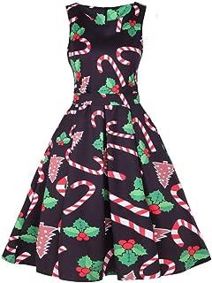 Daoroka Women Dress Women's Dress Christmas Daoroka Vintage Santa Retro Xmas Evening Prom Swing Dress