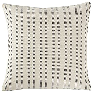 Stone & Beam French Laundry Stripe Pillow, 17  x 17 , Ivory, Grey