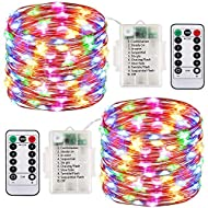 2 Pack LED Fairy Lights Battery Operated String Lights Waterproof 8 Modes 100 LED 33ft Fairy String ...