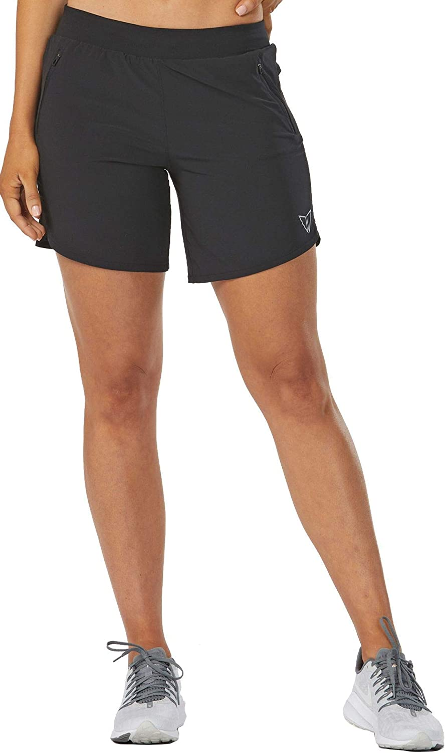 KORSA Women's 7-inch Athletic Workout Popular popular P Zip Shorts Multiple with security