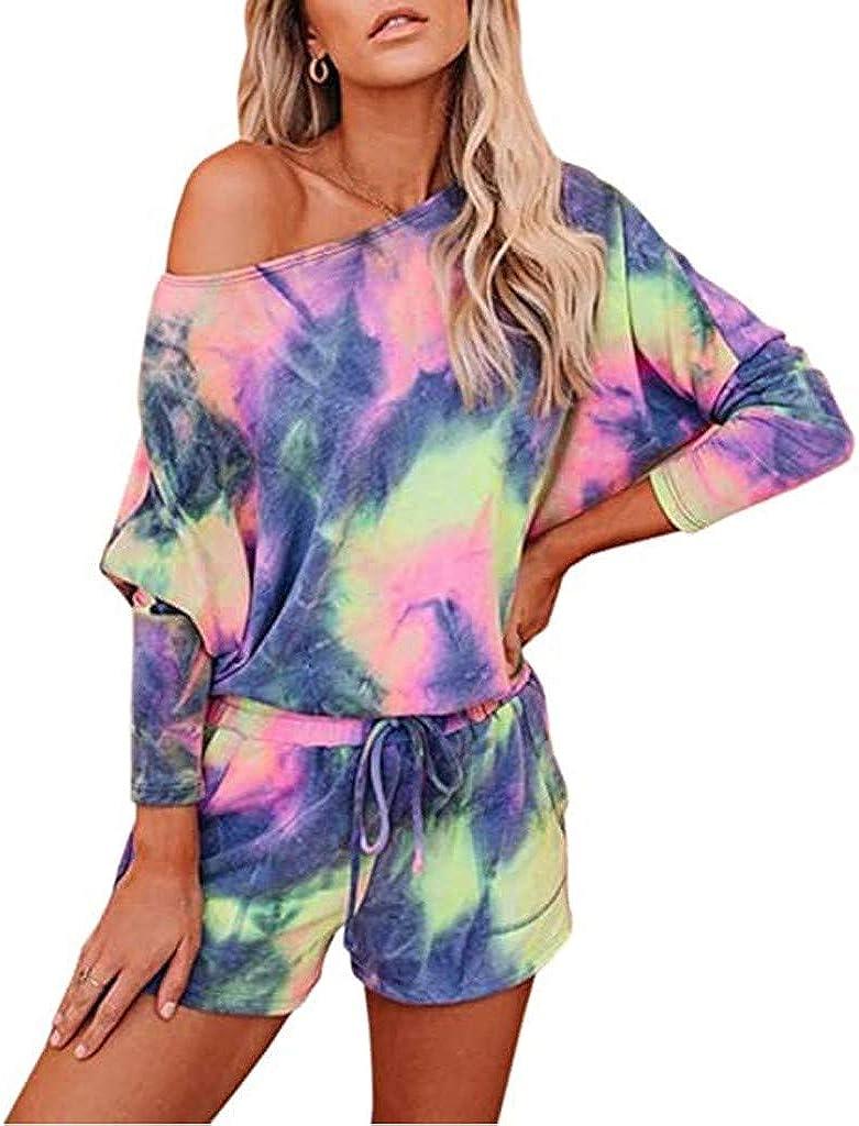 Loungewear for Women Shorts Set,Women's Tie Dye Pajama Sets Long Sleeve Tee Tops and Short PJ Set Loungewear