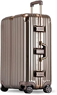 YCYHMYF with Retractable Handle TSA Lock Trolley case Suitcase Suitcase ABS + PC Material (Gold 22 inch)