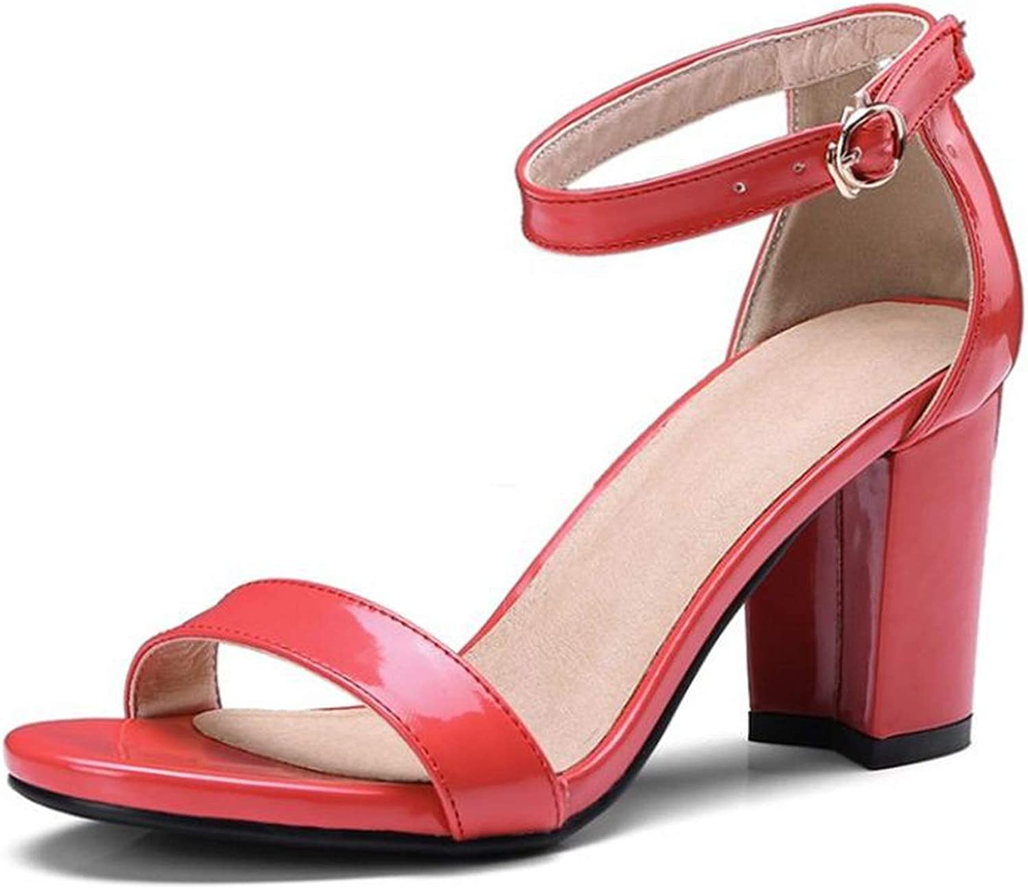 Fairly High Heel Ankle Strap Thick Heels Elegant Graceful shoes Dress Lady's shoes,Red,6