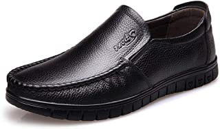 HaiNing Zheng Driving Loafers for Men Casual Shoes Slip on Round Toe Genuine Leather Breathable Hand-Stitching Lightweight Anti-Slip Solid Color (Color : Black, Size : 7.5 UK)