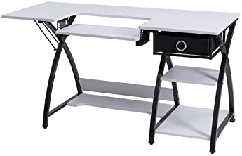 Costway Adjustable Sewing Craft Table with Drawer, Multifunction Crafting Machine Desk with Storage, Sturdy Computer ...