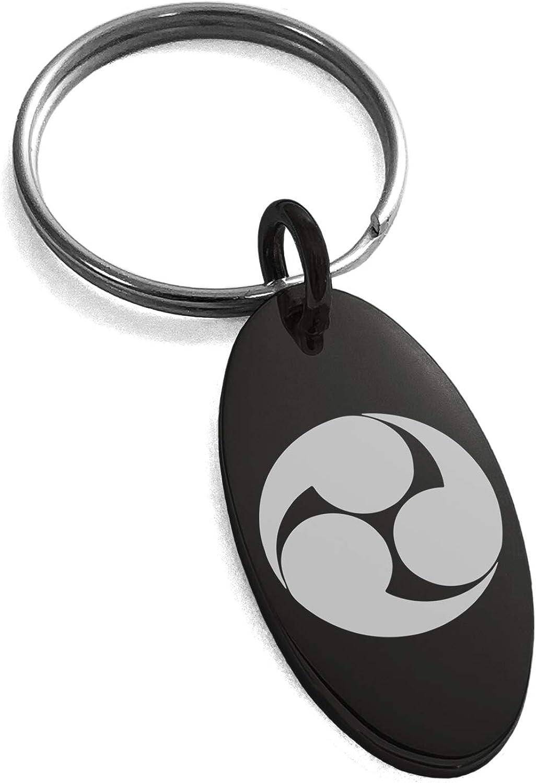 Tioneer Black Stainless Steel Kobayakawa Samurai Crest Symbol Small Oval Charm Keychain Keyring