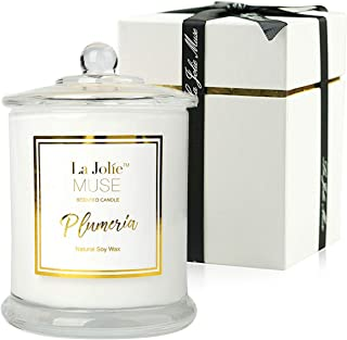 LA JOLIE MUSE Plumeria Scented Candles Natural Soy Wax Glass Jar, 55 Hours Burn, Fine Home Fragrance, Gifts Candle Set
