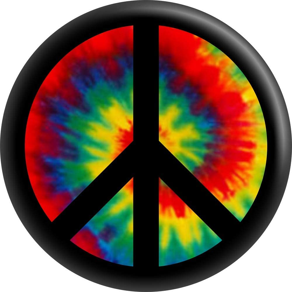 Peace Sign - Black On Rainbow Button Tie Dye Round Shipping included 1.5