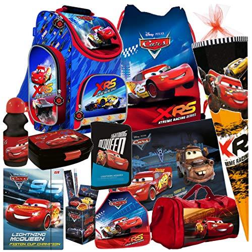 Disney Cars Auto 16 Teile Set Schulranzen RANZEN SCHULTÜTE 85 FEDERMAPPE Tasche Tornister mit Sticker von Kids4shop