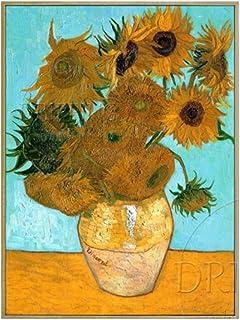 YDDFSGGFDSG Flor impresionista Pintada a Mano Pintura al óleo florero Van Gogh Bodegón con Doce Flores Pintura al óleo,150x170CM
