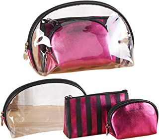 3 Pieces Cosmetic Bag Set Transparent Waterproof Cosmetic Bag PVC Wash Bag for Vacation,Travelling,and Organizing (Rose red)