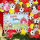 Kreatwow Paquete de 75 globos de fiesta de animales de granja Kit de arco de guirnaldas para la primera, segunda y tercera fiesta de cumpleaños Globos para caminar de animales Suministros de fiesta