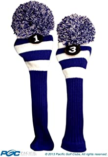 Majek Golf Club 1 3 White and Blue Limited Edition Driver and Fairway Wood Head Covers Fits 460cc Drivers Tour Knit Retro Vintage Pom Classic Long Neck Metal Longneck Woods Headcovers
