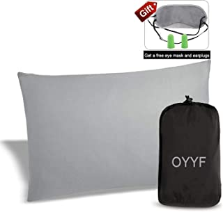 OYYF Small Camping Pillow for Sleeping, Compressible Lightweight Camp Pillow, Removable Cover with Storage Bag