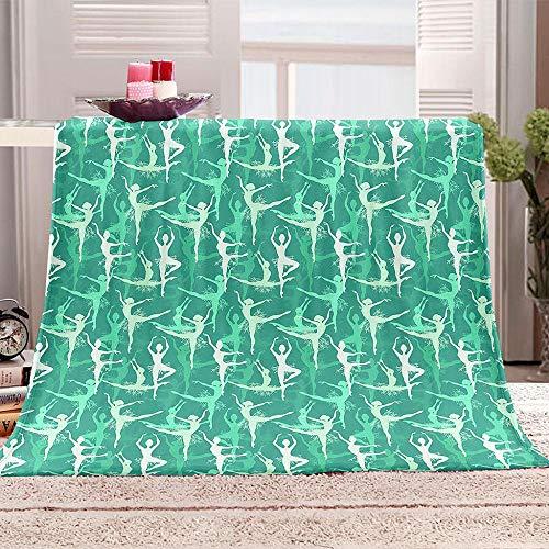 ZZFJFQ Fleece Blanket Verde y Bailando Mantas de Sofá de Franela de Adultos y Niños Resistente a Las Arrugas No Pierde Color,Mantas para Cama 180x220cm
