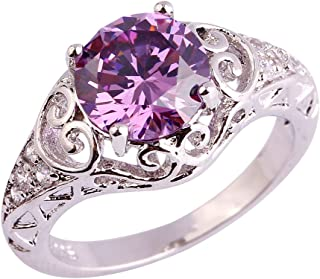 925 Sterling Silver Created Amethyst Filled Floral Cocktail Anniversary Ring