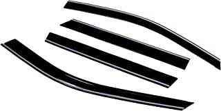 TuningPros CTLP-272 Chrome Trim Low Profile Window Visor Deflector Rain Guard Dark Smoke 4-pc Set