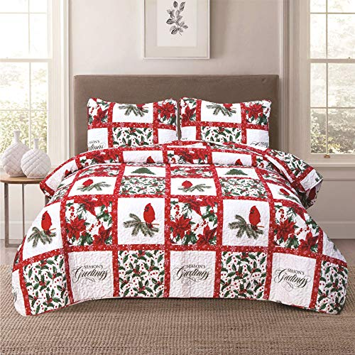 Christmas Holiday Full/Queen Patchwork Quilt Bedding Set Cardinal Poinsettia Holly Mistletoe