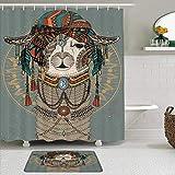 Juego de cortinas y tapetes de ducha de tela,Llama Alpaca Con Pañuelo En La Cabeza Estilo Bohemio Perú Animal Creativo,cortinas de baño repelentes al agua con 12 ganchos, alfombras antideslizantes