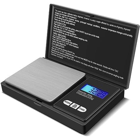 Báscula Digital de Precisión, Báscula portátil de Bolsillo, Pantalla LCD Retoiluminada, Precisión con Función de Tara, Plataforma de Acero inoxidable