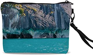 Multi-patterned luggage tag Blue Marble Cave General Carrera Lake in Chile Natural Wonders Rocks Azure Water Double-sided printing Blue Purplegrey White W2.7 x L4.6