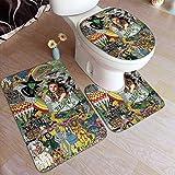 XCNGG Juego de alfombras de Tres Piezas Bath Mats 19.5x31.5in Bathtub Mats Set 3 Piece Wizard OZ Bathroom Antiskid Pad Memory Foam Toilet Rug (Rectangular Carpet+UShaped Floor Mat+OShaped Lid Cover)