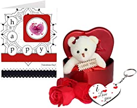 SKYTRENDS Fabric Heart-Shaped Box with Teddy and Roses and Wooden Keychain with Greeting Card (Red)