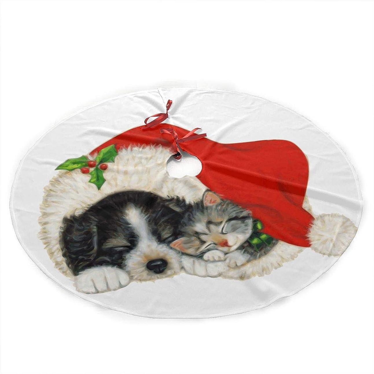 子供達第九共産主義者Christmas Black Cat Dog Under Christmas Artificial Tree Skirt Carpet Mat Protective Cover Themed Round Pad Classic Xmas Decorations (30 Inch)