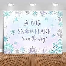 Mocsicka Winter Snowflake Baby Shower Backdrop Purple Blue Snowflake Baby Shower Background 7x5ft Vinyl Winter Wonderland Baby Shower Backdrops